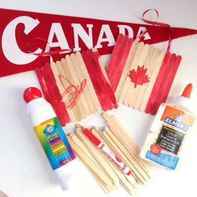 Show your patriotic side, and get crafty with the kids making these Canada Day flags out of Popsicle sticks!