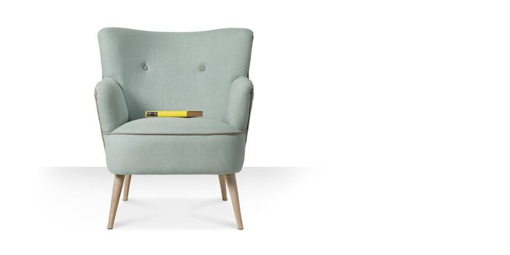Swoon Editions Armchair, Mid-century style in duck egg blue - £329