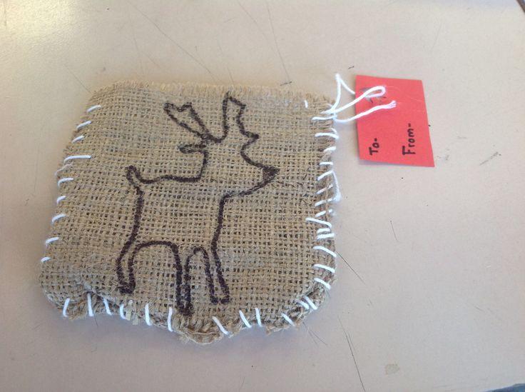 Hessian and stitching
