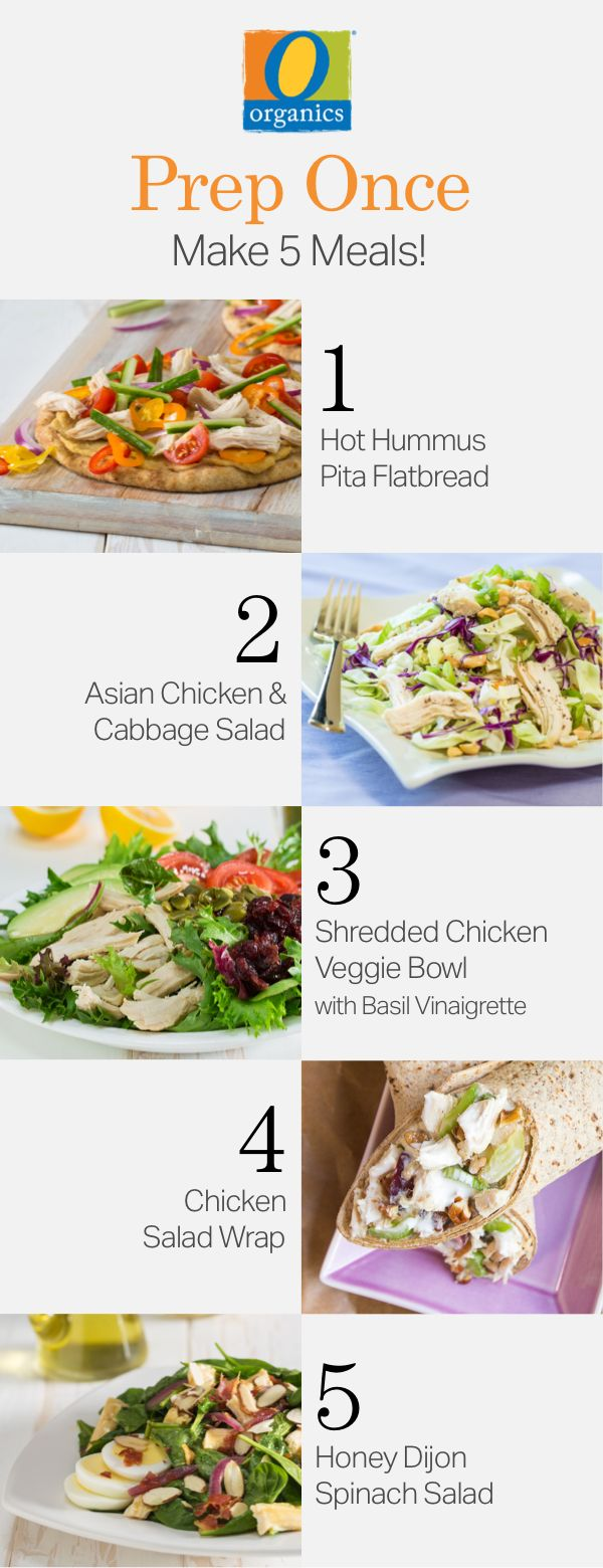 Meal prep tonight for a week's worth of healthy dishes, all featuring O Organics® chicken!