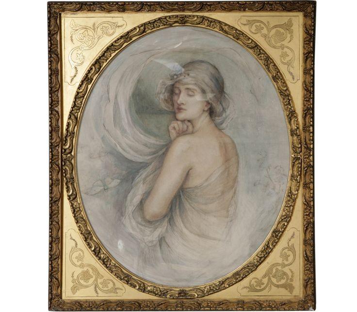 Pre Raphaelite Ornate Pastel Painting with Brass Frame