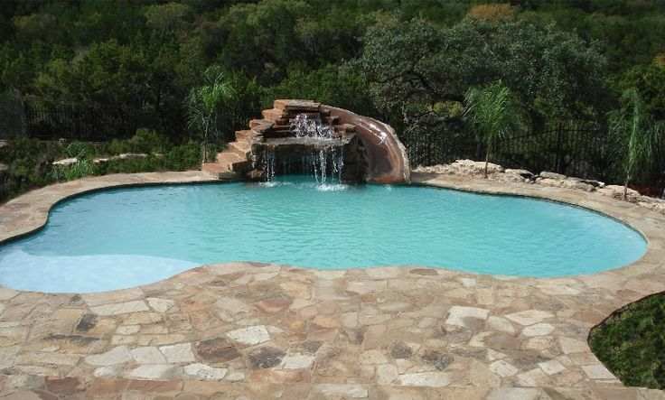 Image result for home swimming pool design tanning ledge grotto slide spaces pinterest - Swimming pool designs with slides ...