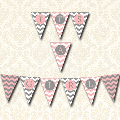 Its A Girl Baby Shower Banner, Printable Pennant Bunting Pink and Gray Birth Announcement Chevron Baby Shower, DIY Baby Shower Decorations on Etsy, $5.50