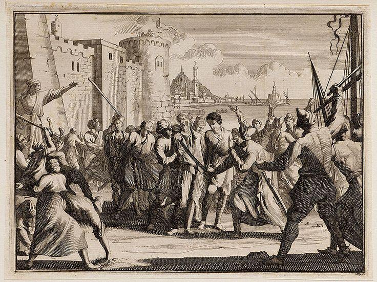 """Christian slaves in Algiers, 1706 - Gravure hollandaise ancienne. """"Landing en mishandeling van gevangenen in Algiers"""". (lit. Débarquement et maltraitement de prisonniers à Alger)"""