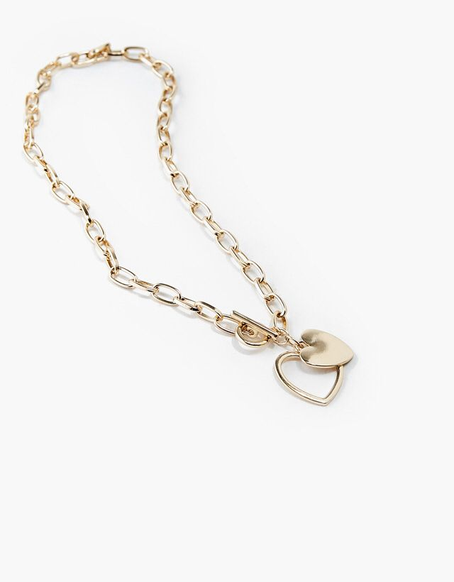 Heart Linked Chain Necklace from Bershka £7,99