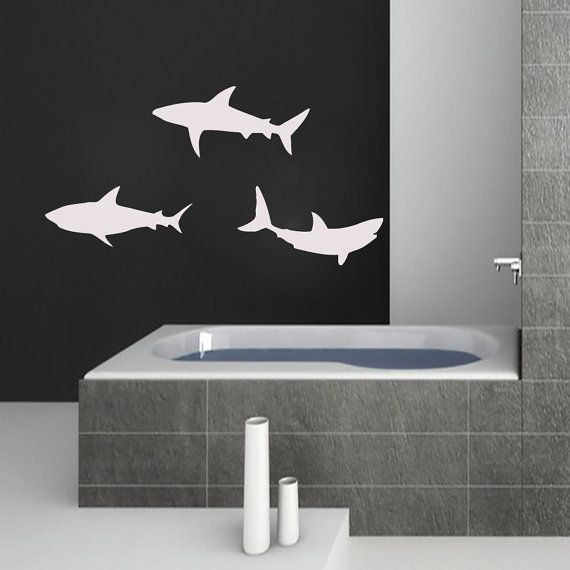 Wall Decals Shark Decal Vinyl Sticker Bathroom Kitchen Window Baby Children Nursery Bedroom Home Decor Interior Art Murals MN510