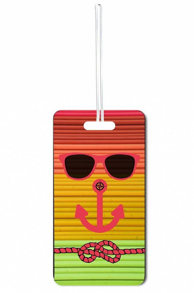 Hipster Beach Face Slats Rosie Parker Inc. Set of 8 Luggage Tags with Personalized Back