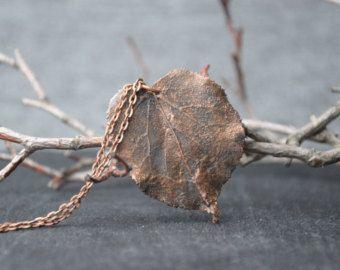 Echte Blatt Halskette botanische Schmuck Blatt von wirefoxjewellery