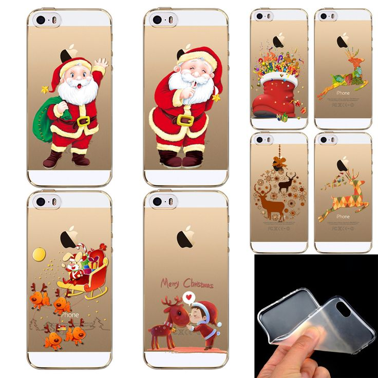 Present Phone Skin Beautiful Cute Father Christmas  Pattern Ultra Thin Soft Cover Case For iPhone 5 5S