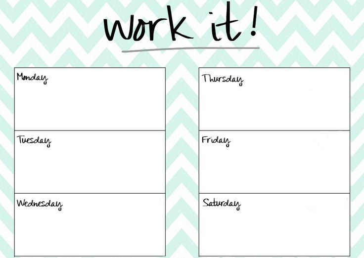 Blank Printable Workout Calendar Template 5