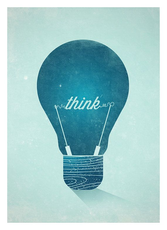 """""""Think"""" Vintage light bulb graphic poster."""