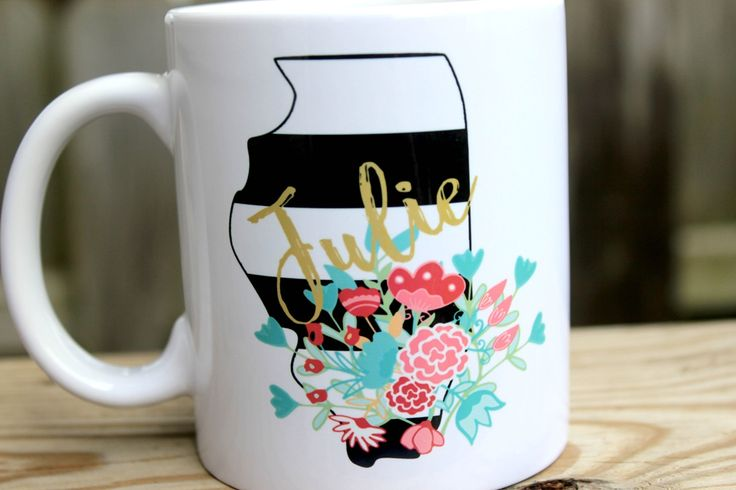 Personalized Coffee Cup - Personalized Coffee Mug - Custom Coffee Mug - State Mug - Custom Coffee Cup - Gift for Mom - Gift for Co-worker. Profess your state pride with this gorgeous personalized coffee mug. Available for any state in the US. Show the world where you are proud to call home. Each 11 oz mug has a state filled with very classy black and white stripes. I have used a gorgeous flower overlay and a golden shade for the personalization. This mug is very chic and will have all…