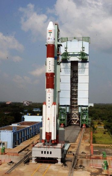 Unveiling a breathtaking view of the majestic Polar Satellite Launch Vehicle, PSLV C25 with its passenger, the Indian Space Research Organiz...