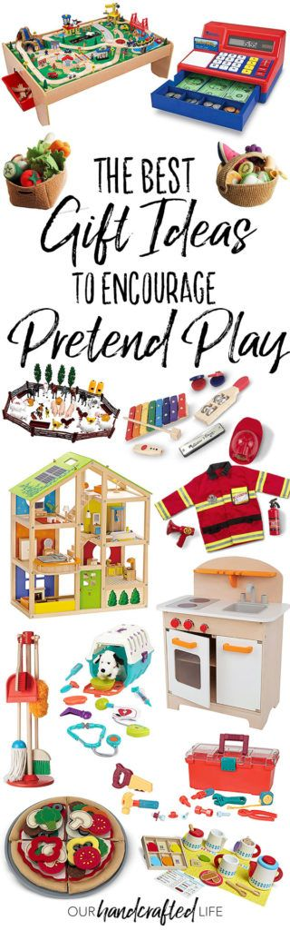 The Best Gift Ideas to Encourage Pretend Play - Our Handcrafted Life - The Best Pretend Play Toys are part of our series of gift guides featuring more than 50 Intentional Gift Ideas for Kids.Check out the whole series to find great gifts that encourage open-ended play, develop imagination, promote active play, and foster creativity. These toys are durable and require the kids to use their imagination! They are my favorite toys to buy for birthdays and Christmas.