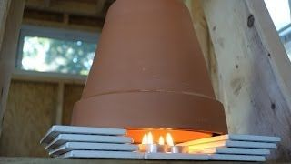 DIY Tiny House Flower Pot candle convection heater. tutorial and review