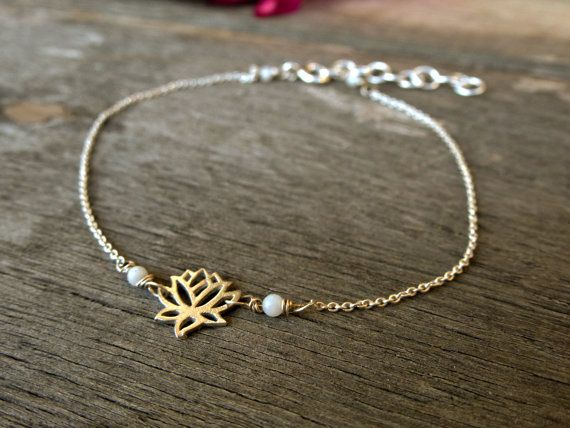 YOGA BraceletTiny LOTUS Flower Yoga jewelry. by SoCoolCharms