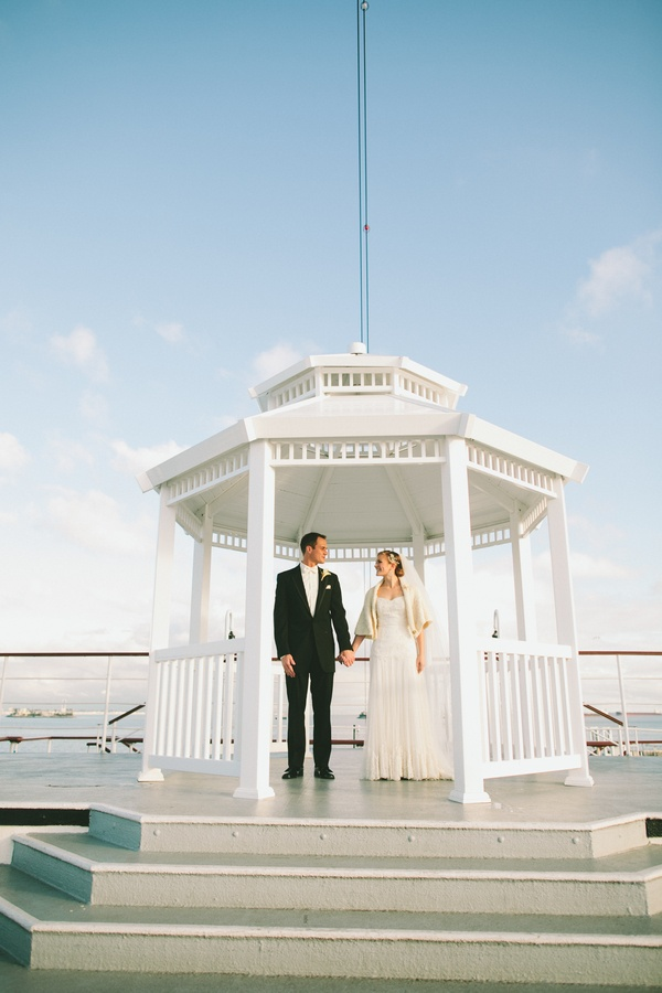Wedding Photography Consultant: Gazebo Aboard The Queen Mary, Long Beach, CA. Photo By Wai