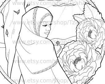 Muslim Hijabi Coloring Book Page Digital Download - Muslimah Lady and Flowers