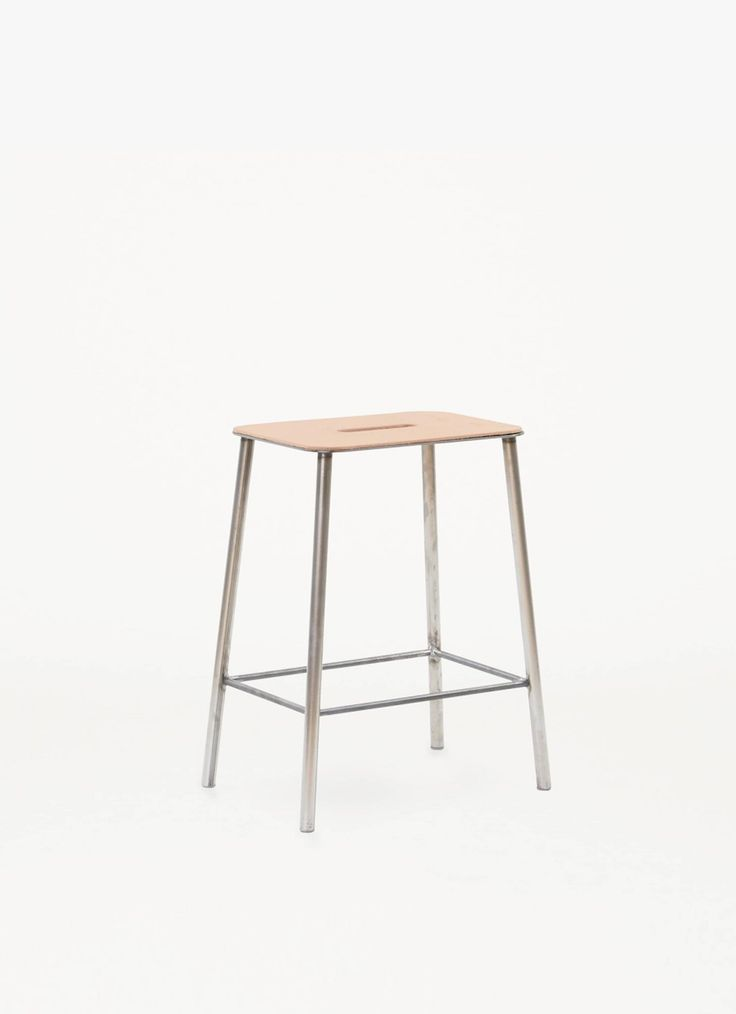 Adam Stool – H500 Raw Steel – Natural Leather Seat