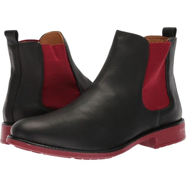 Massimo Matteo Chelsea PT Boot (Black/Red) Men's Pull-on Boots ($53) ❤ liked on Polyvore featuring men's fashion, men's shoes, men's boots, men's low top shoes, mens black pull on boots, mens slip on boots, mens black boots and mens black slip on shoes