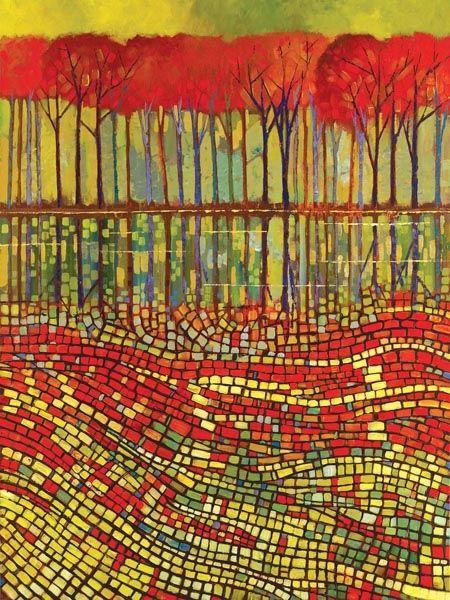 """Ritme - Regelmatige herhaling van vormen, kleuren, lijnen enz, waarbij de vormen steeds wisselend worden gebruikt. / """" AUTUMN RYTHM """"  Ford Smith"""