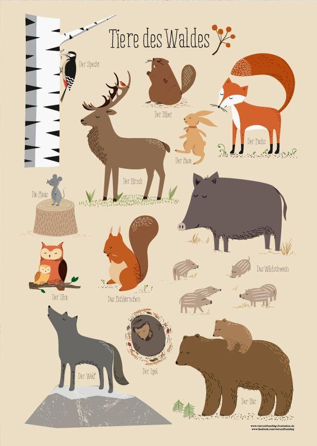Drucke & Plakate – Waldtiere, Poster A3 – ein Designerstück von fiftyfour-media-illustration bei DaWanda