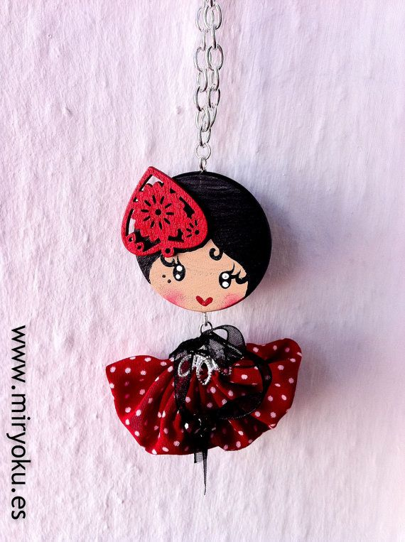 Wooden pendant Miryoku Love's Flamenco by MiryokuHandMade on Etsy, €16.00