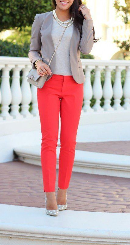 I like the idea of colorful jeans/pants--maybe in a coral, light blue-chambray. This type of style.
