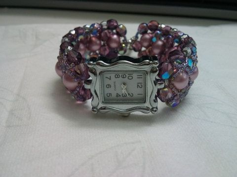 Gift for Her Wrist watch  with a pearl strap special by Mamyblue, $65.00