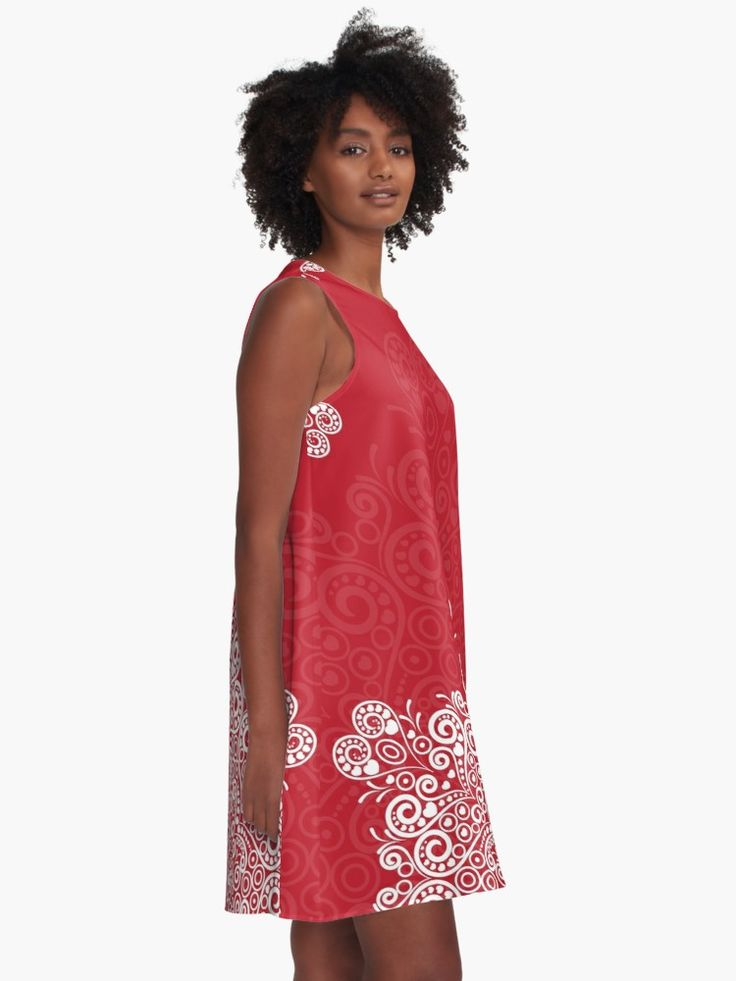 """""""Red background with white mandala"""" A-Line Dress by Fodorviola73   Redbubble"""