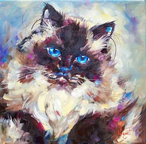 """COMMISSIONED HIMALAYAN CAT PORTRAIT"" - Original Fine Art for Sale - © Olga Wagner"