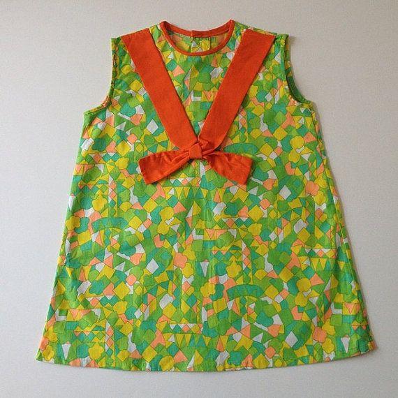 1970's Summer Dress  Yellow Green Orange  Size by familythreadla, $48.00