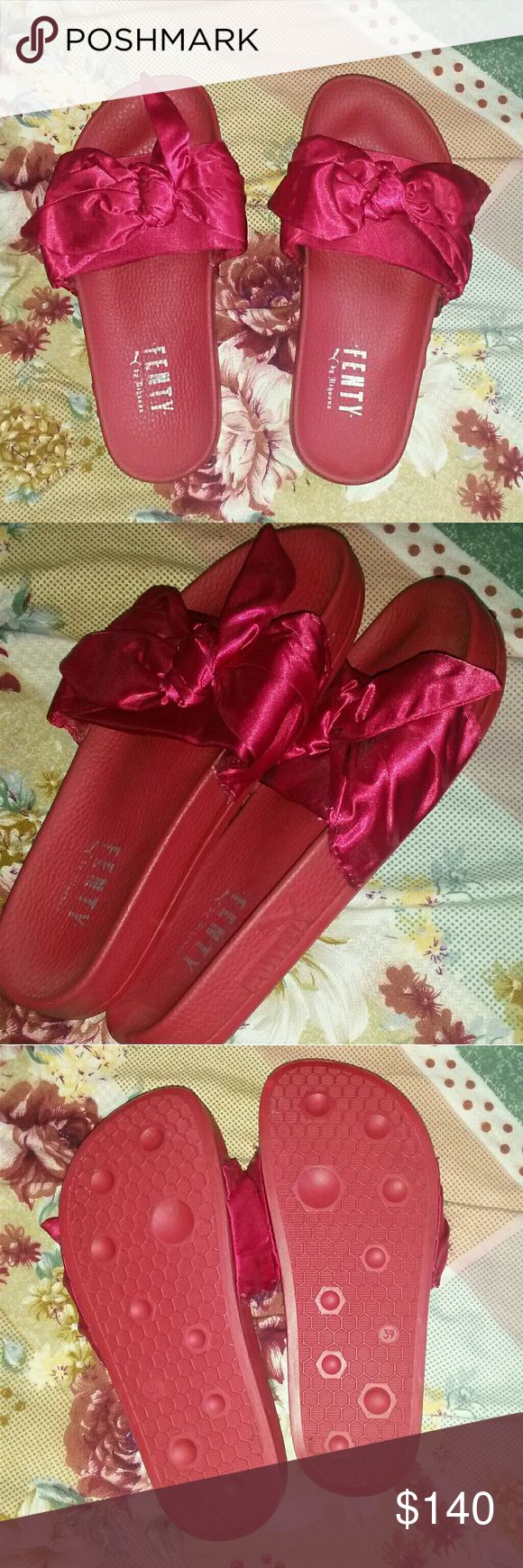 Rihanna Fenty Puma Slides Brand new satin slides in red, size 39 Puma Shoes Slippers