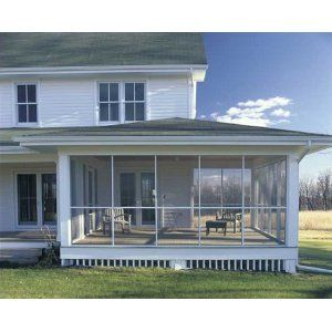 Farmhouse screened porch. I like how it is not directly behind the house.