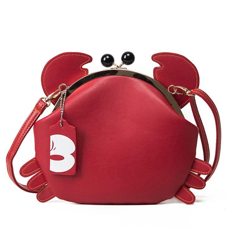Bolsa Feminina Caranguejo Bolsa da Moda Designer Divertida Cores Preta e Vermelha Bolsas Divertidas