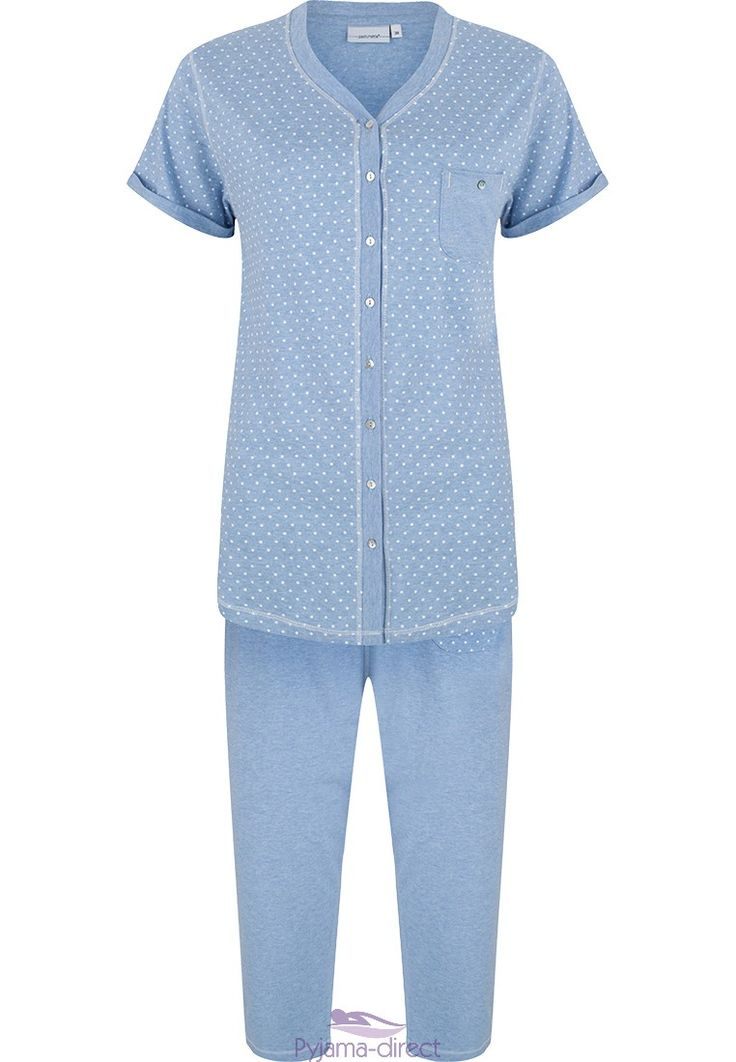 "Pastunette ""delicately dotty"" full buttoned, cotton pyjama with 3/4 pants"