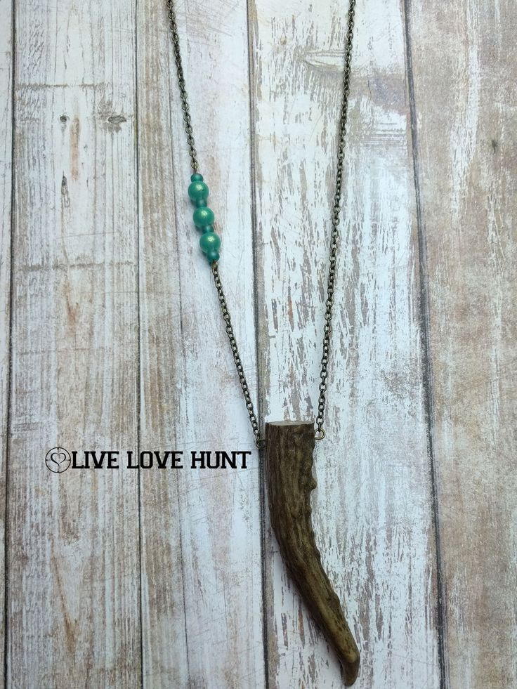 live love hunt™ antler necklace, turquoise shimmer chain