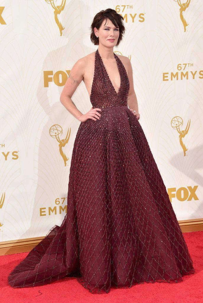 Lena Headey in red carpet dress by Zuhair Murad