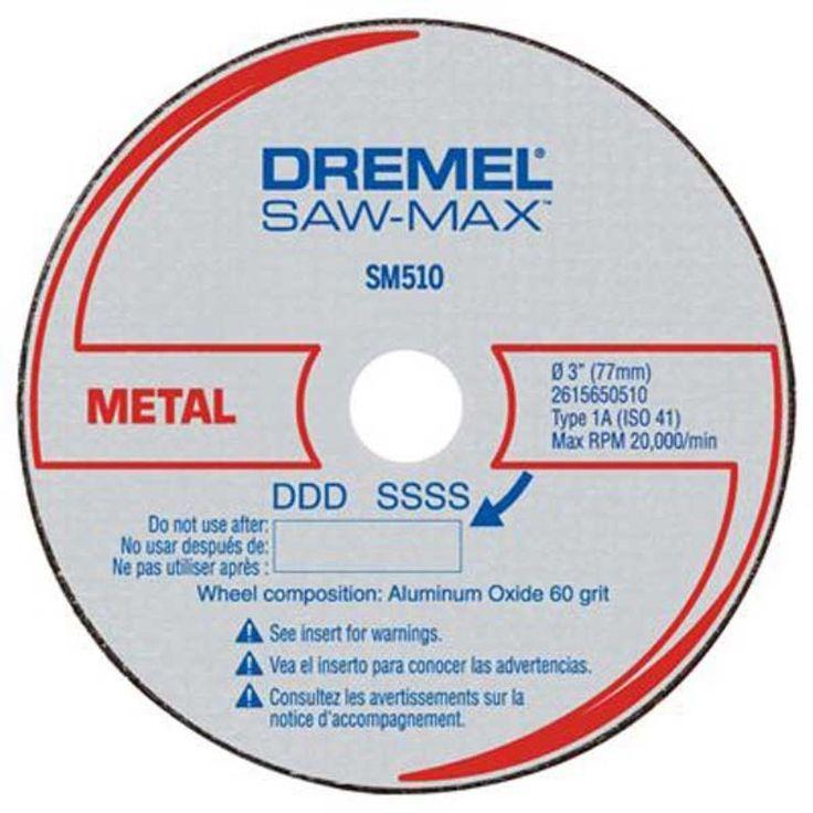 Disco de Corte Para Metal DSM510 3 Unidades - Dremel Disco de Corte para Metais Dremel SM510  Para uso exclusivo na Dremel Saw-Max Disco de corte para metal, tubo de cobre, conduite, aramados, chapa de metal, barra roscada, folha de alumínio. Uso apenas com a Ferramenta Dremel Saw-Max Embalagem com 3 discos. www.colar.com