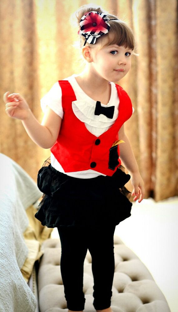 Girly Circus Ringmaster outfit. Birthdays, photography, magician , wedding, vest bowtie, black, red, gold on Etsy, $32.99
