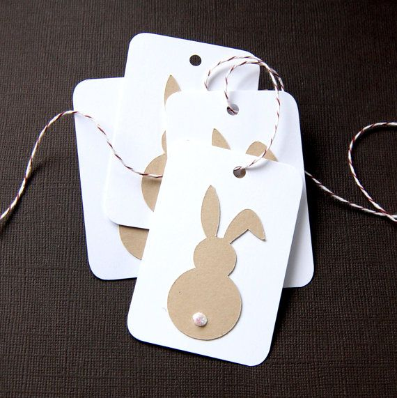 Floppy Ear Bunny Easter Tags or Package Labels Qty. 6 by scrapbits