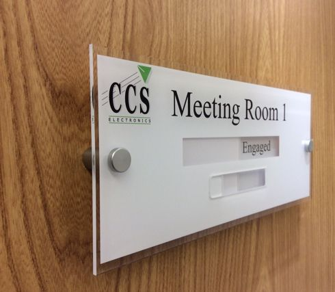 Sliding Door Signs With A Vacant Or Engaged Slider