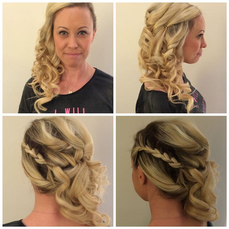 Side updo with braid.
