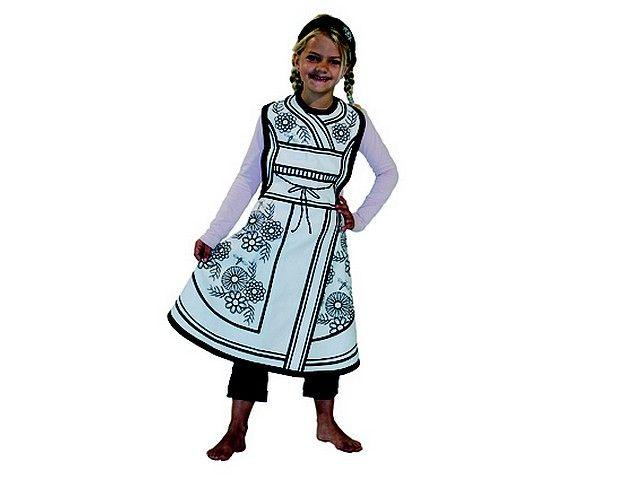 Kostuum gheisa *** Dit geisha-kostuum om zelf in te kleuren is gemaakt van 100% katoen en bedoeld voor kinderen van drie tot acht jaar (one size). Er zit ook een hoofddoekje bij. Wordt geleverd in mooie kartonnen verpakking inclusief 4 textielstiften. Just colour it, wear it and play!!