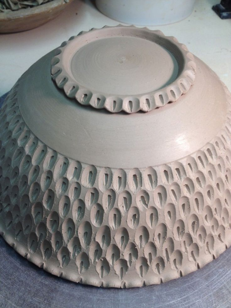 """""""wet-leatherhard bowl and did a carved texture pattern around the outside wising my round loop trimming tool and a smaller sgraffito loop tool""""   Firewhenready.com firewhenreadypottery.com"""