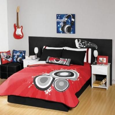 a musical note headboard on the bed and a black white and red musical theme