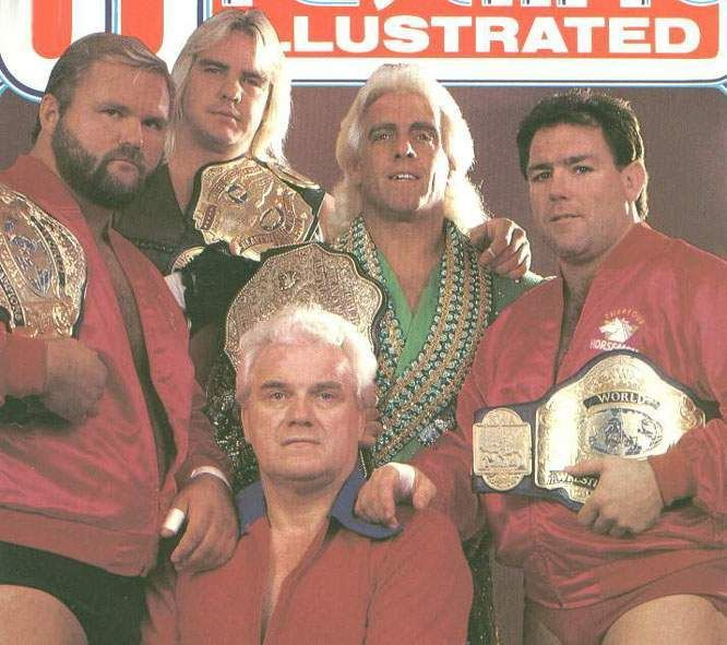 Ric Flair, Arn Anderson, Ole Anderson, Tully Blanchard, Barry Windham, and JJ Dillon (The Four Horseman)