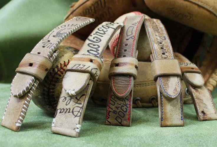 Bracelets montres ABP réalisés dans des gants de baseball US des années 50.