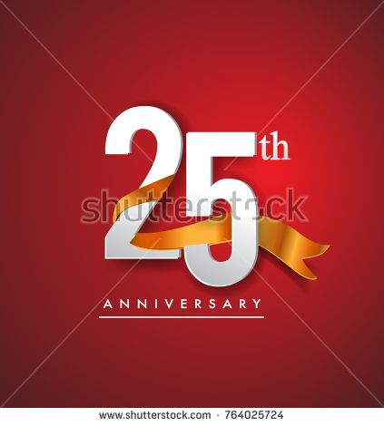 25th anniversary logotype with golden ribbon isolated on red elegance background, vector design for birthday celebration, greeting card and invitation card.