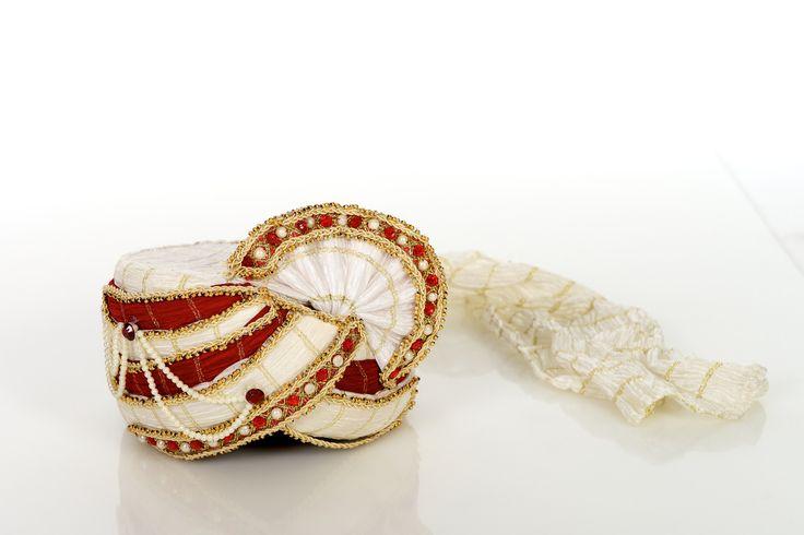 Red & White Grooms Wedding Pagri Turban(Rent)